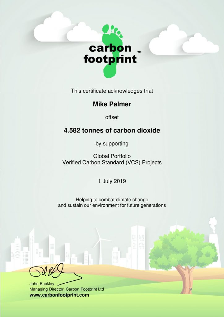 Carbon Offset Certificate 2019