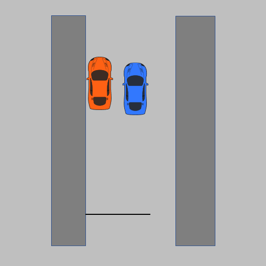 Diagram of parallel park prior to first turn