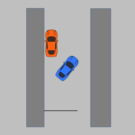 Diagram of parallel parking - 45 degrees to the kerb